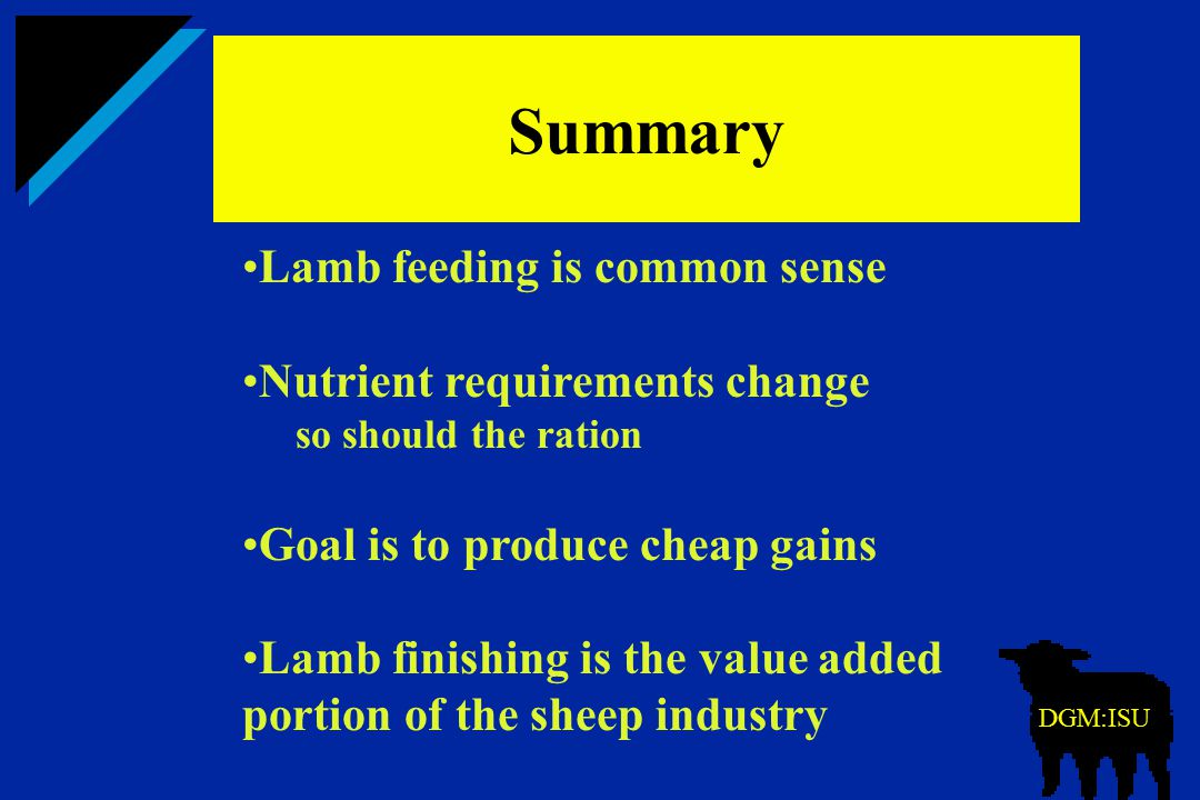 Summary  Lamb feeding is common sense Nutrient requirements change