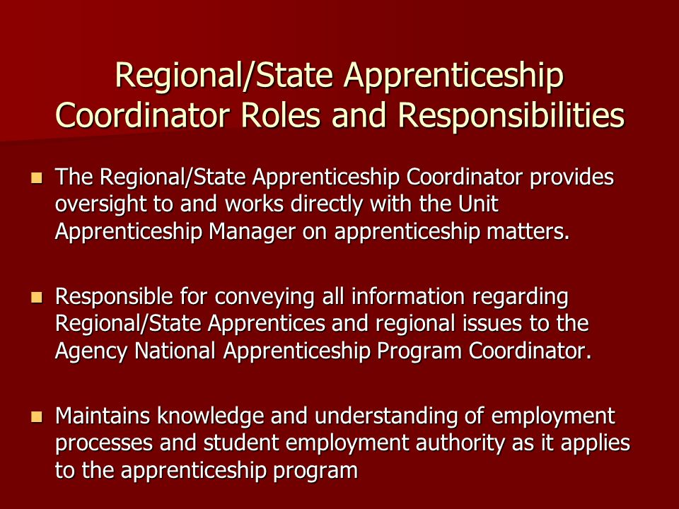 Regional/State Apprenticeship Coordinator Roles and Responsibilities