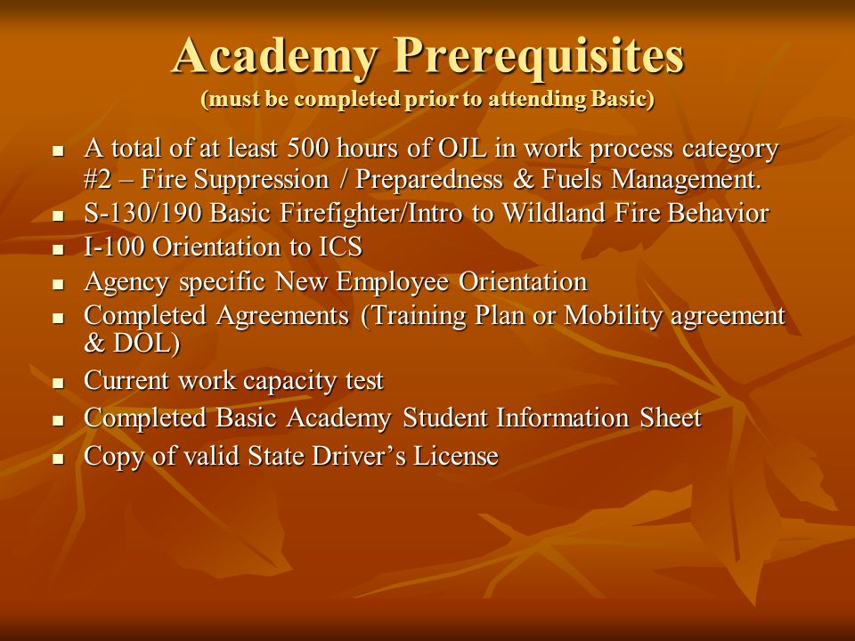 Academy Prerequisites (must be completed prior to attending Basic)