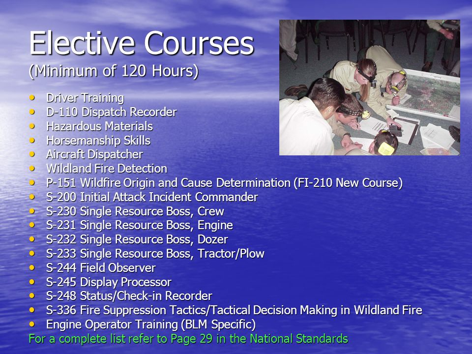 Elective Courses (Minimum of 120 Hours)