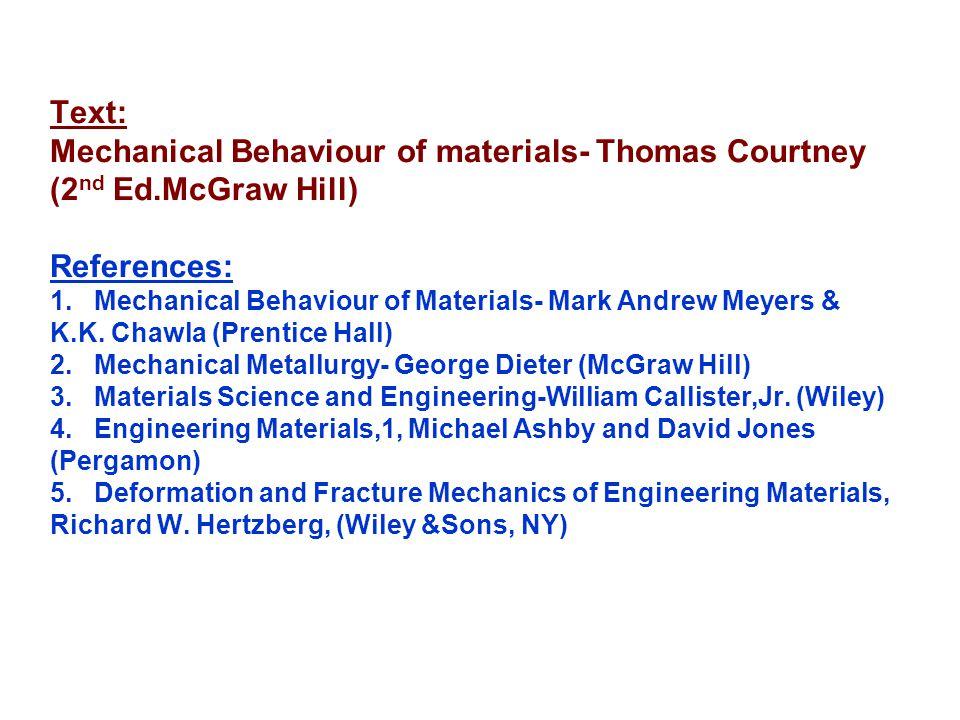 Text: Mechanical Behaviour of materials- Thomas Courtney (2nd Ed