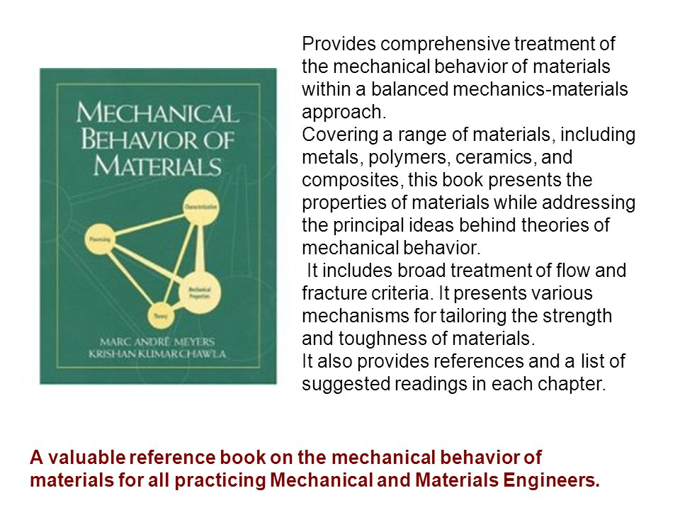 Provides comprehensive treatment of the mechanical behavior of materials within a balanced mechanics-materials approach.