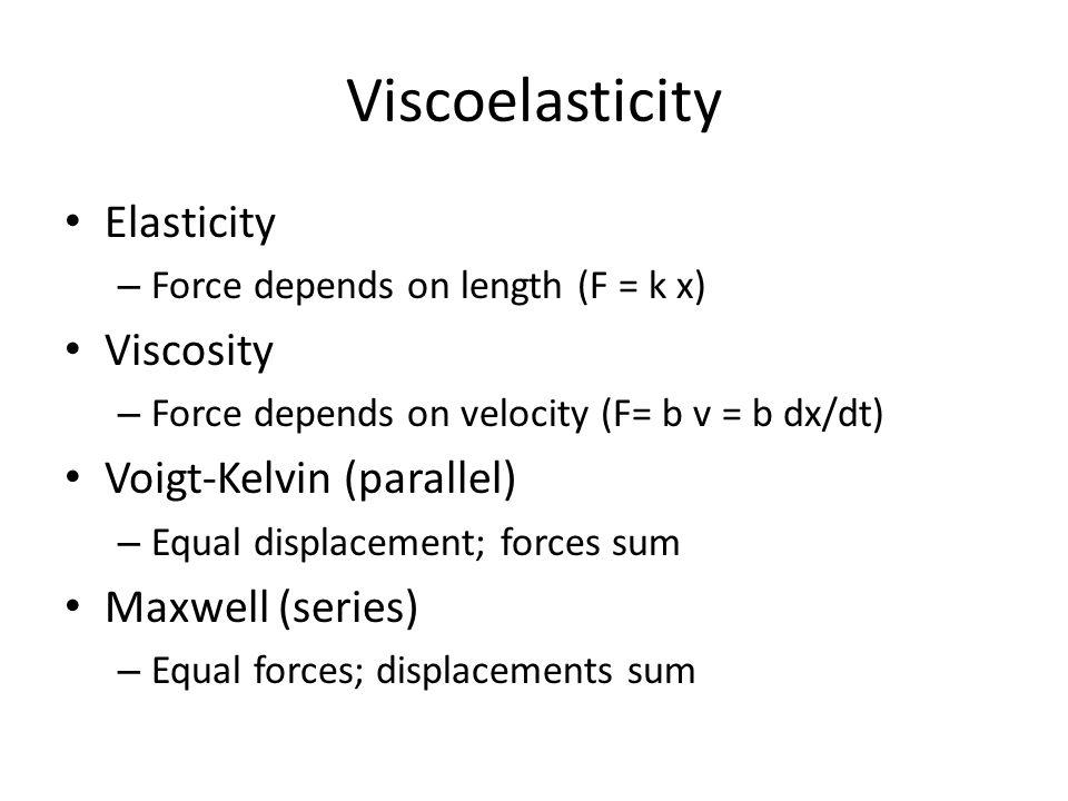 Viscoelasticity Elasticity Viscosity Voigt-Kelvin (parallel)