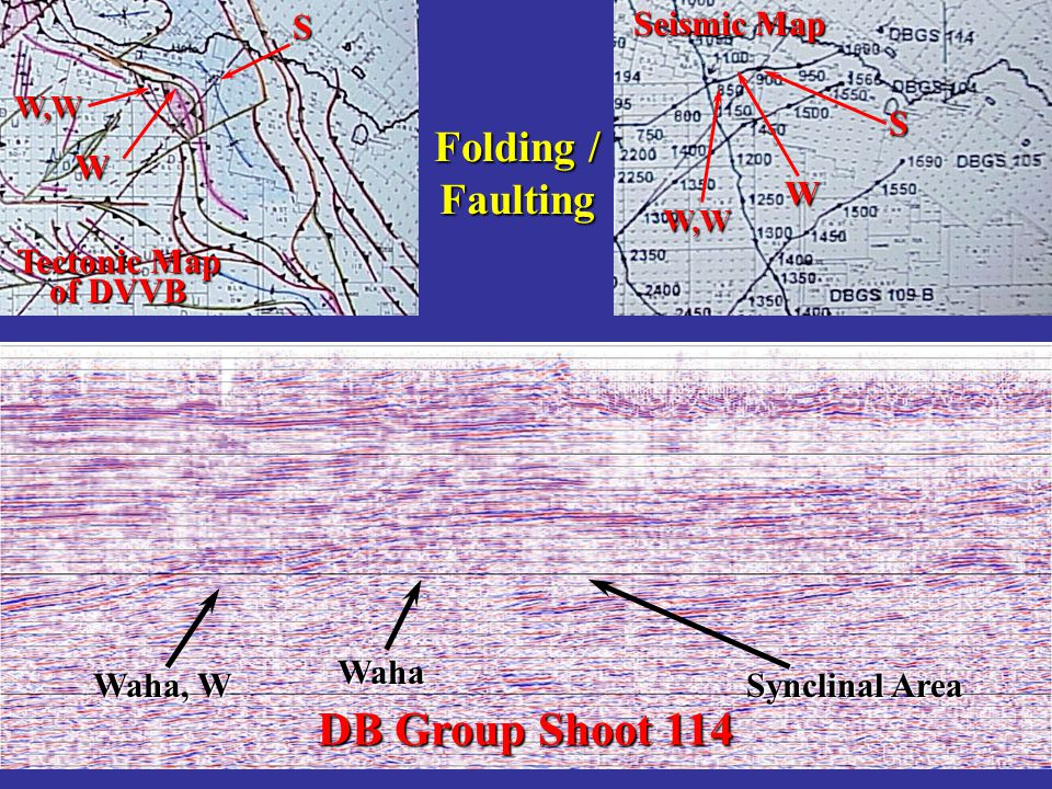 DB Group Shoot 114 Folding / Faulting S Seismic Map S W W