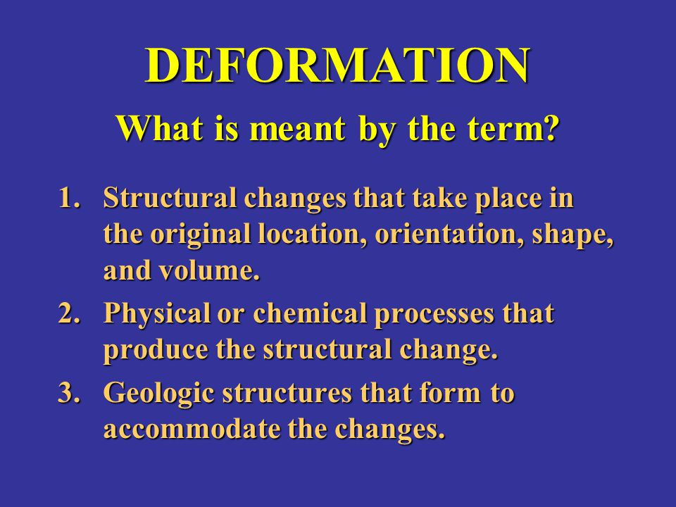 DEFORMATION What is meant by the term