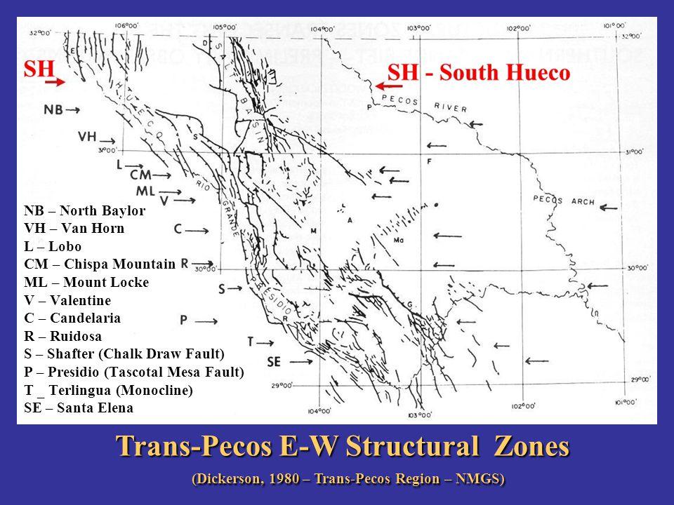 Trans-Pecos E-W Structural Zones