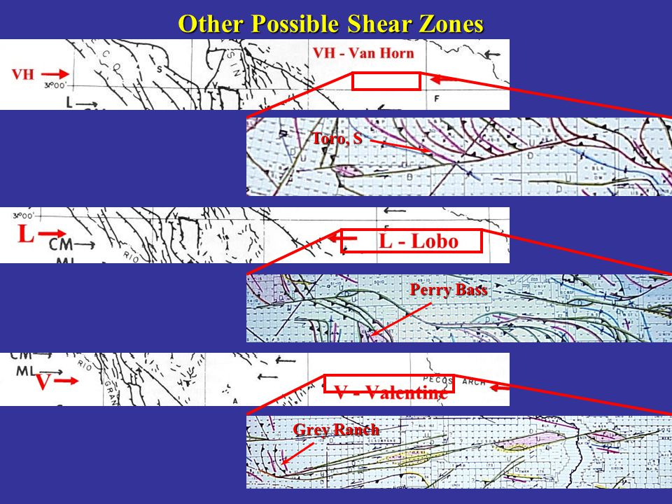 Other Possible Shear Zones