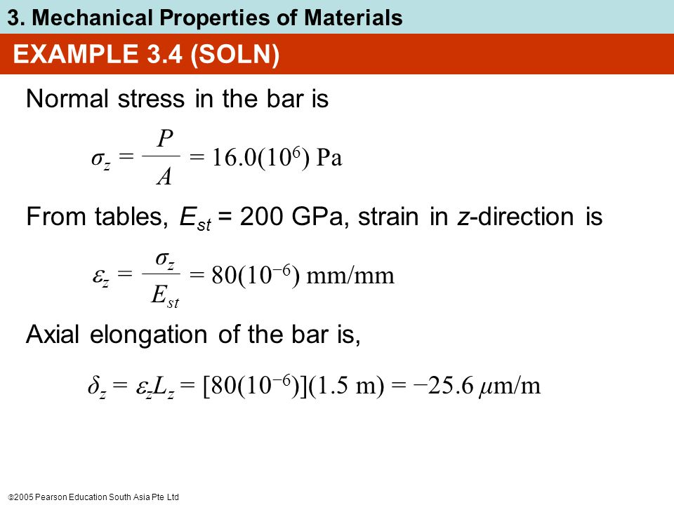 EXAMPLE 3.4 (SOLN) Normal stress in the bar is. σz = P. A. = 16.0(106) Pa. From tables, Est = 200 GPa, strain in z-direction is.
