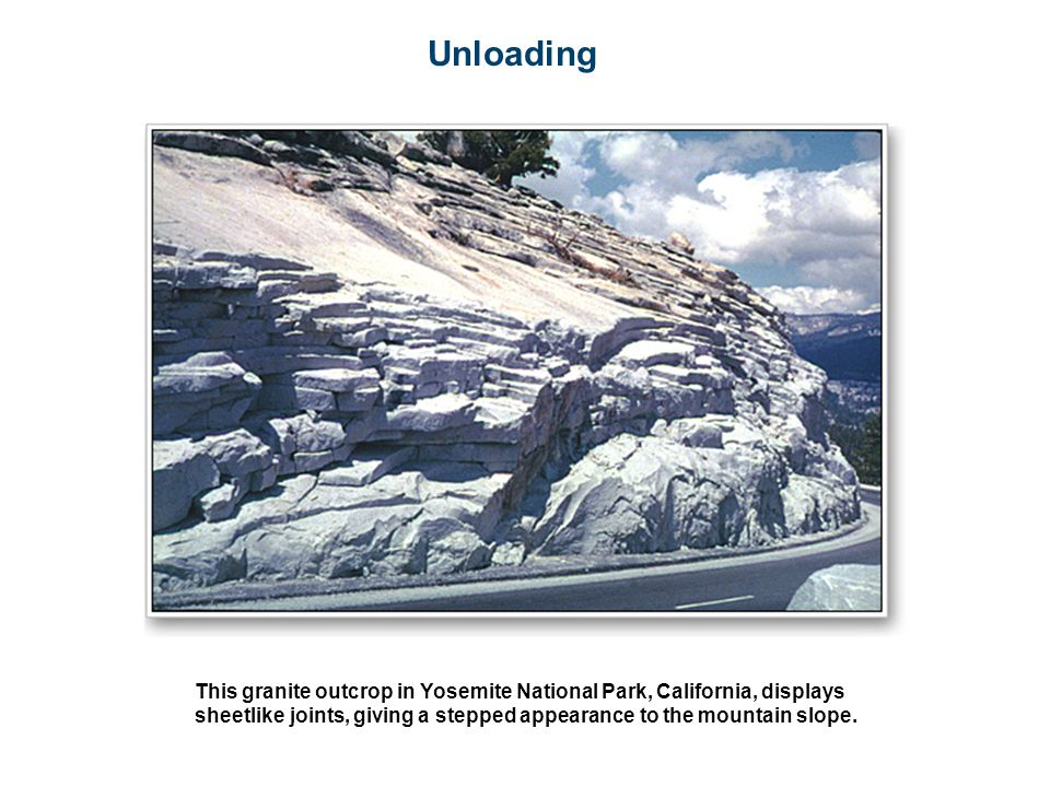 Unloading This granite outcrop in Yosemite National Park, California, displays sheetlike joints, giving a stepped appearance to the mountain slope.