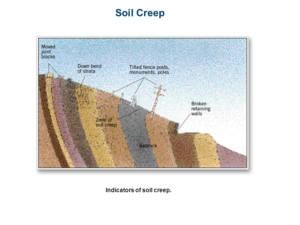 Soil Creep Indicators of soil creep.