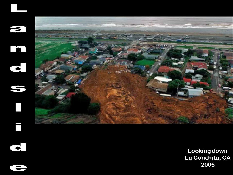 Landslide Looking down La Conchita, CA 2005
