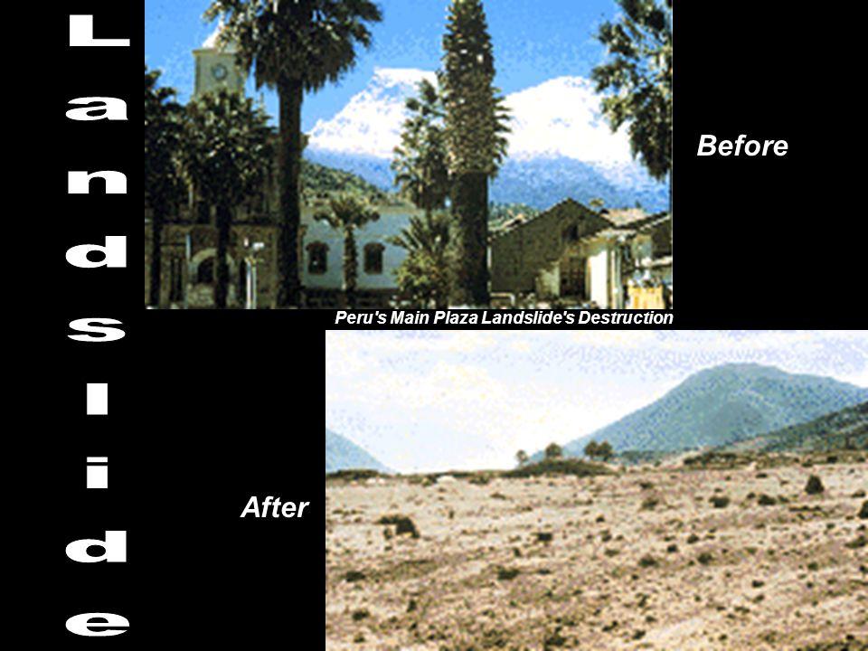 Before Landslide Peru s Main Plaza Landslide s Destruction After