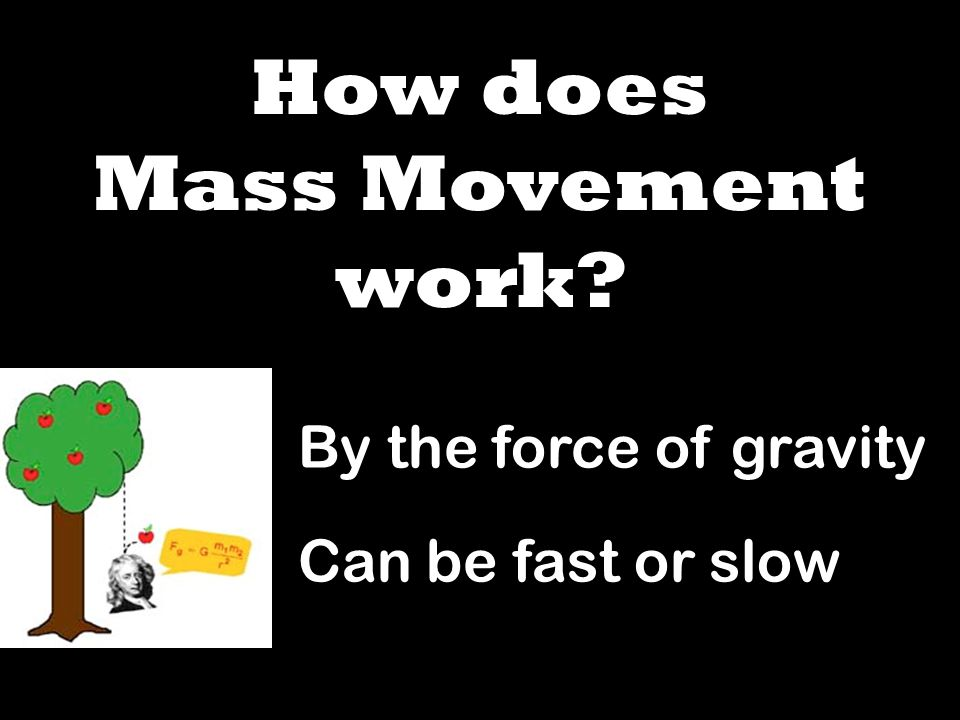 How does Mass Movement work By the force of gravity