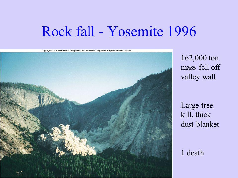 Rock fall - Yosemite 1996 162,000 ton mass fell off valley wall