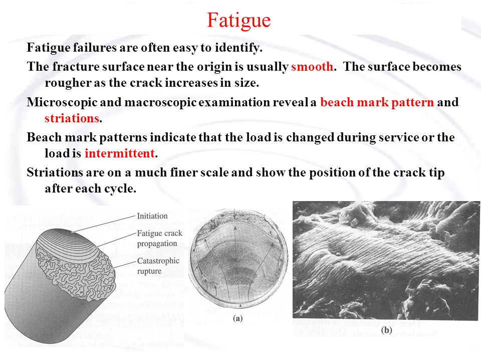 Fatigue Fatigue failures are often easy to identify.