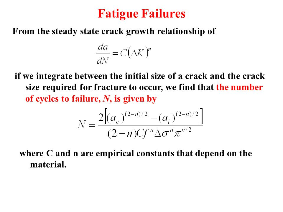 Fatigue Failures From the steady state crack growth relationship of