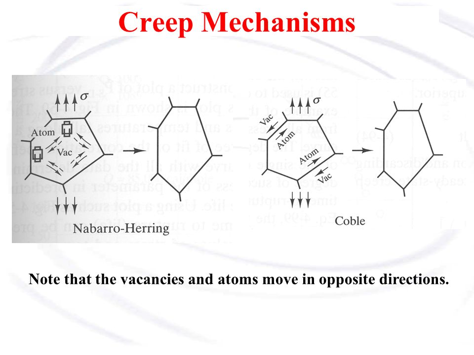 Creep Mechanisms Note that the vacancies and atoms move in opposite directions.