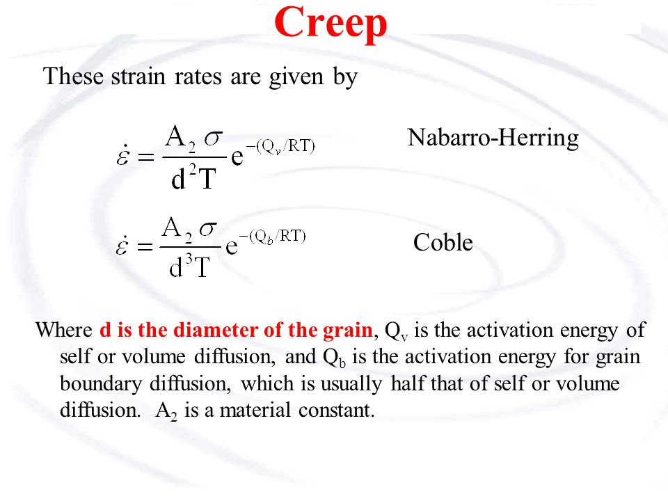 Creep These strain rates are given by Nabarro-Herring Coble