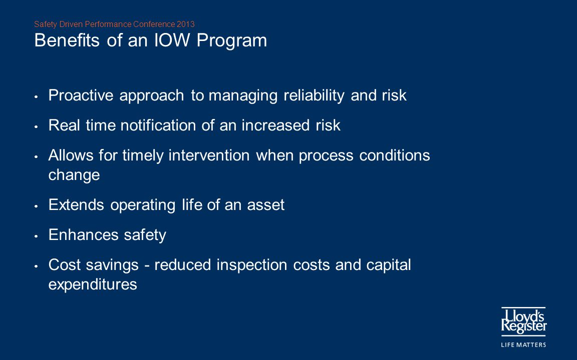 Benefits of an IOW Program