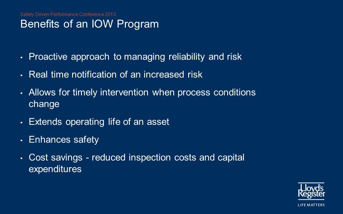 Benefits of an IOW Program