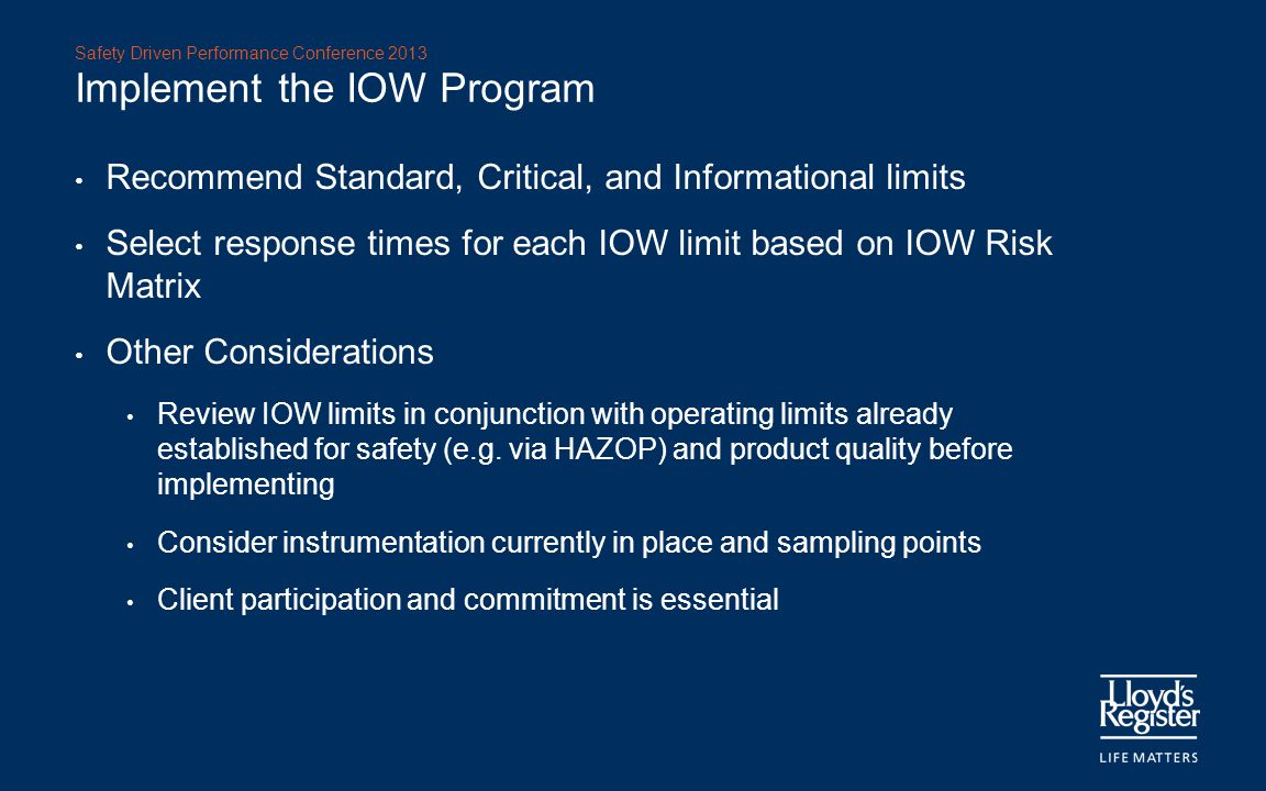 Implement the IOW Program