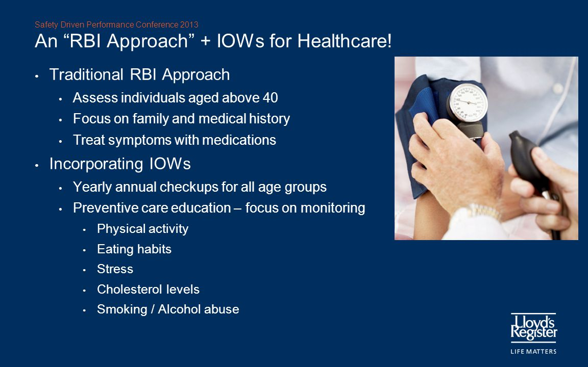 An RBI Approach + IOWs for Healthcare!