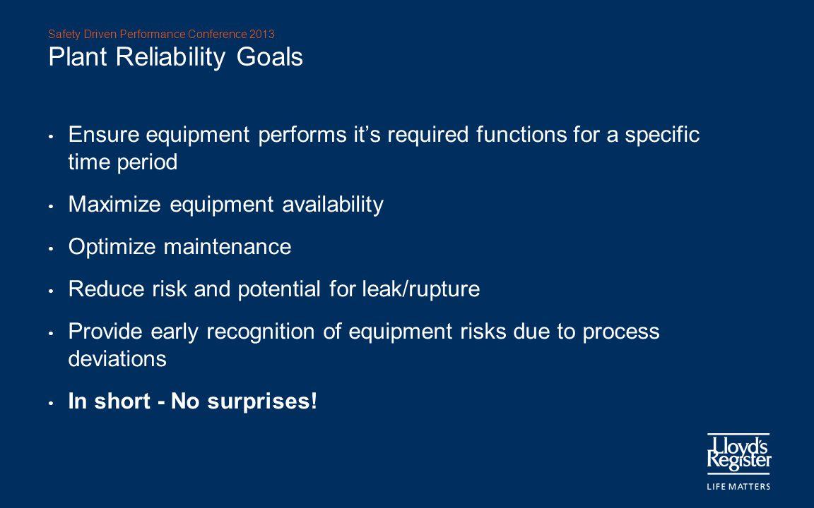 Plant Reliability Goals