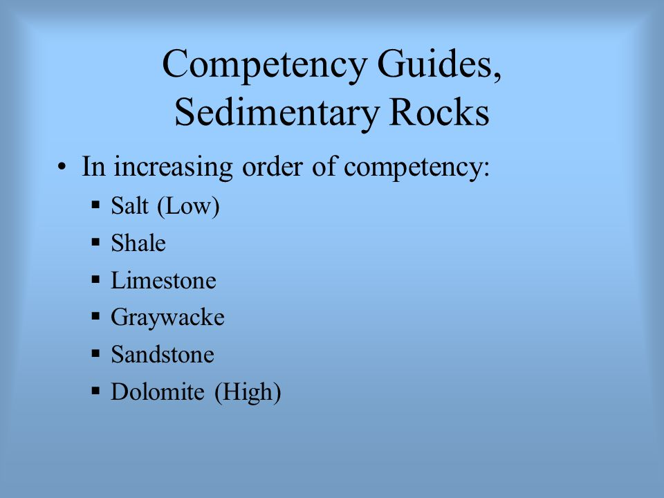 Competency Guides, Sedimentary Rocks