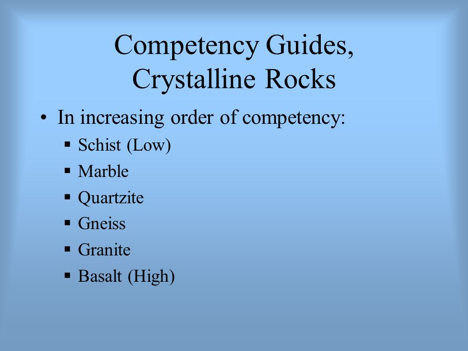 Competency Guides, Crystalline Rocks