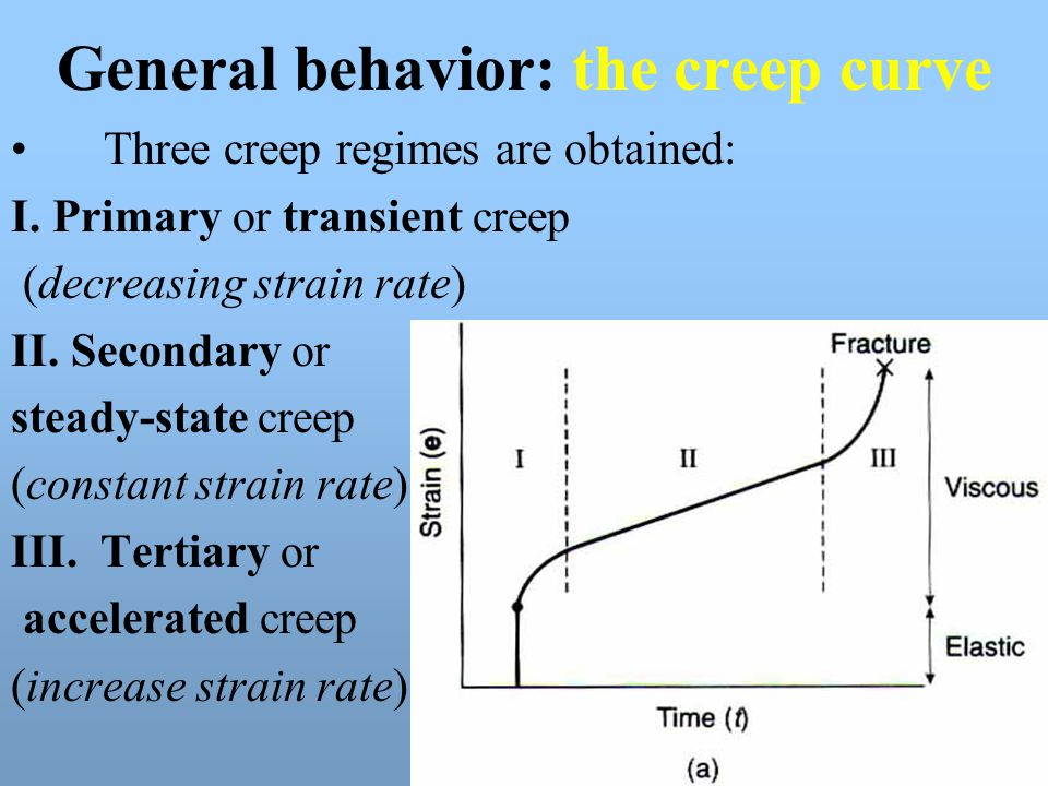 General behavior: the creep curve