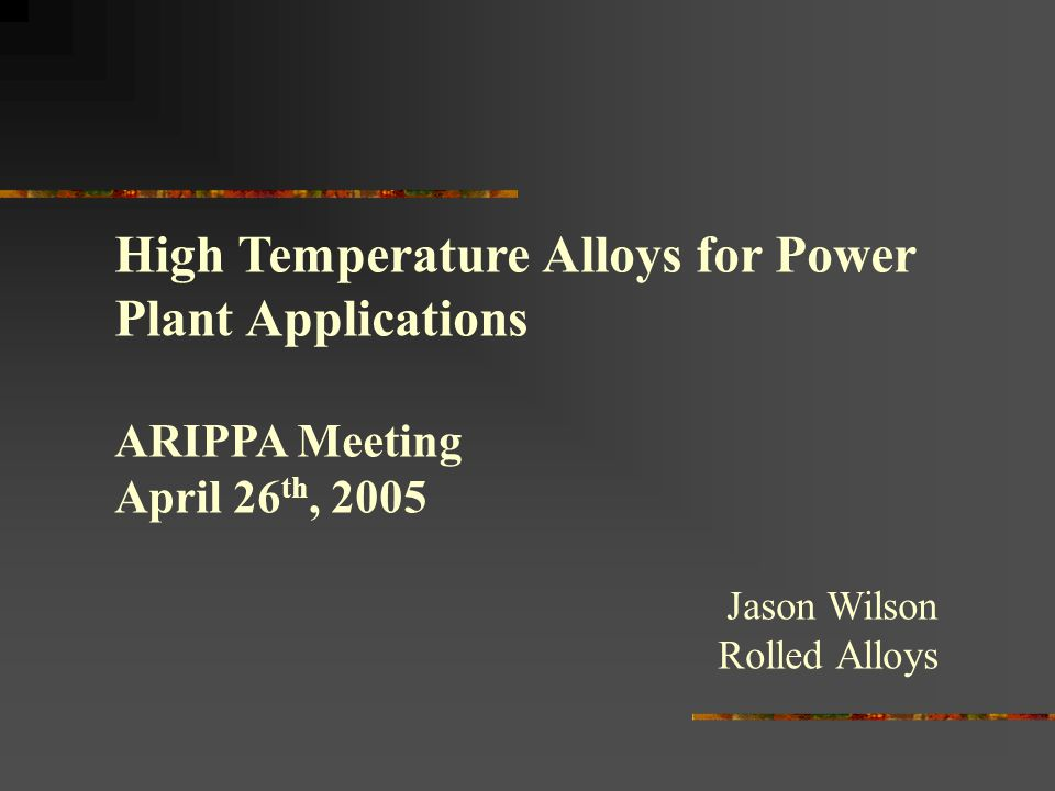High Temperature Alloys for Power Plant Applications