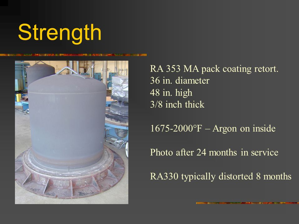 Strength RA 353 MA pack coating retort. 36 in. diameter 48 in. high