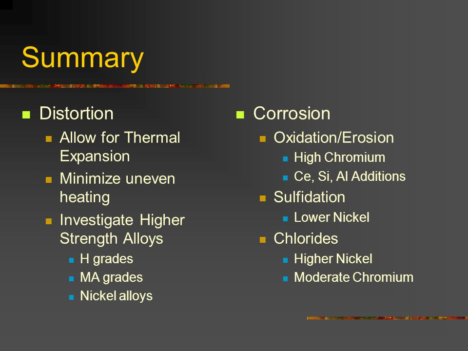 Summary Distortion Corrosion Allow for Thermal Expansion