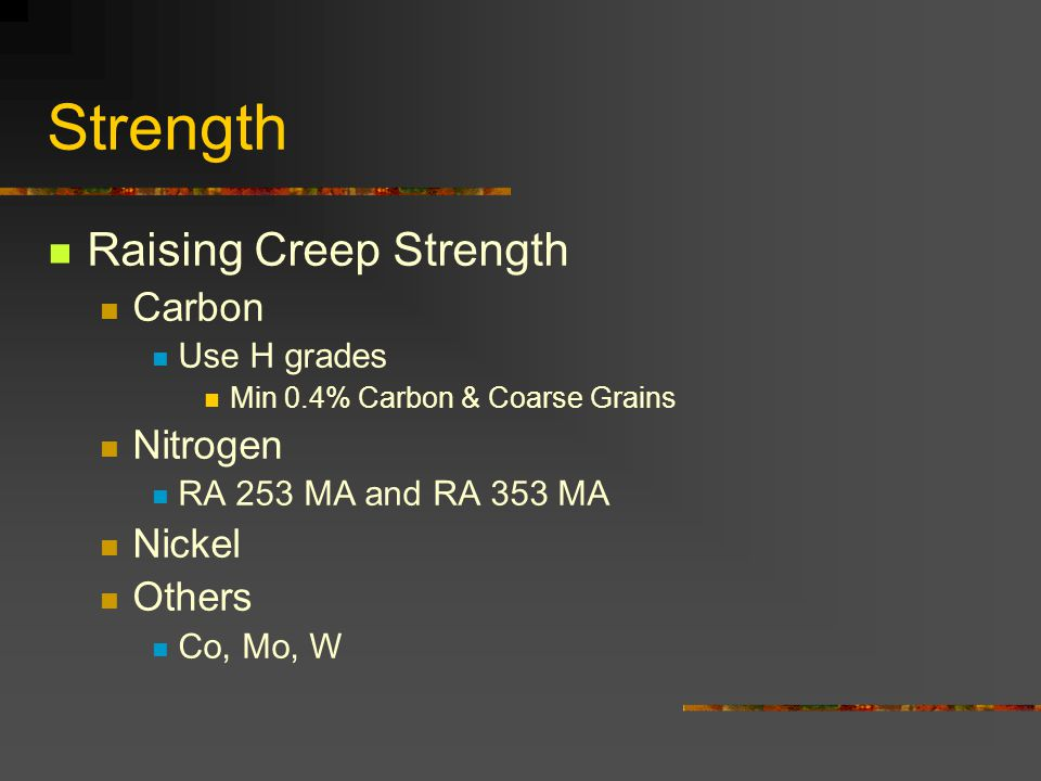 Strength Raising Creep Strength Carbon Nitrogen Nickel Others