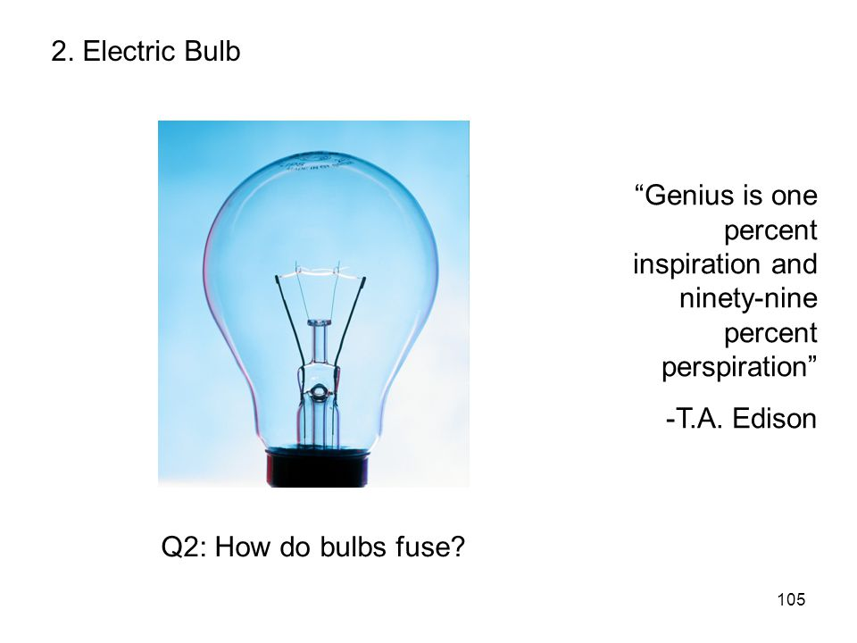 2. Electric Bulb Genius is one percent inspiration and ninety-nine percent perspiration -T.A. Edison.