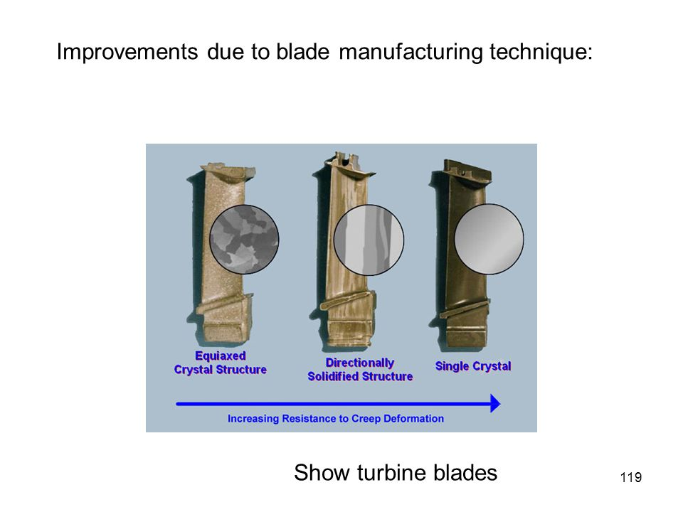 Improvements due to blade manufacturing technique: