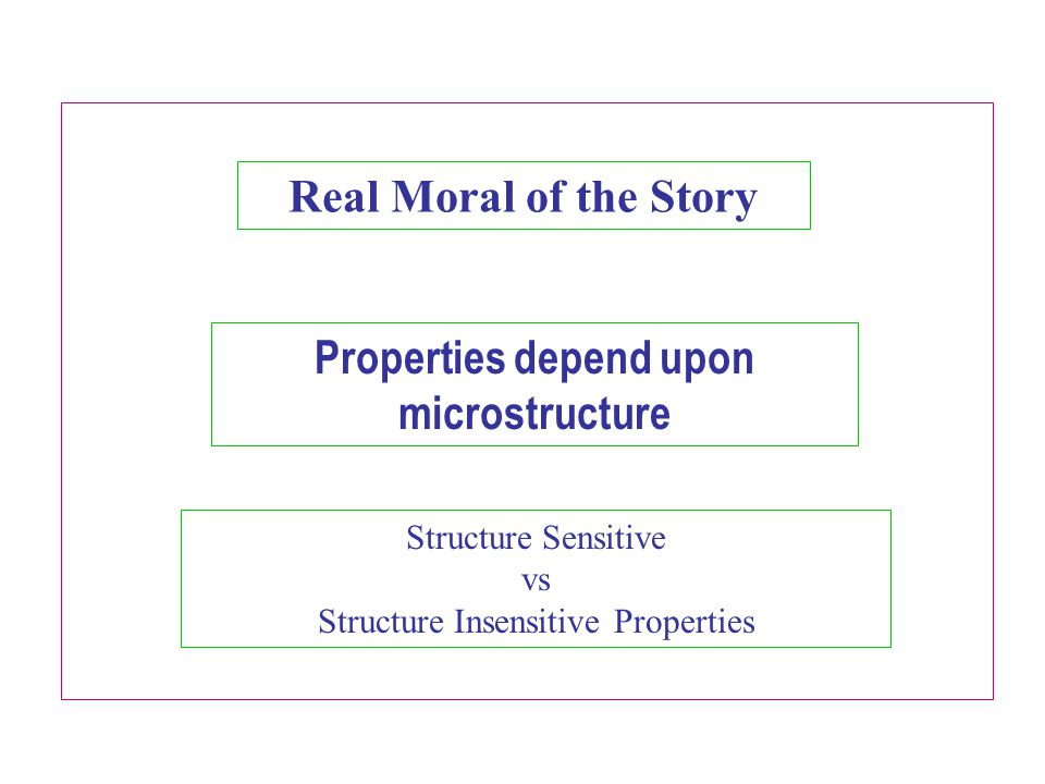 Properties depend upon microstructure