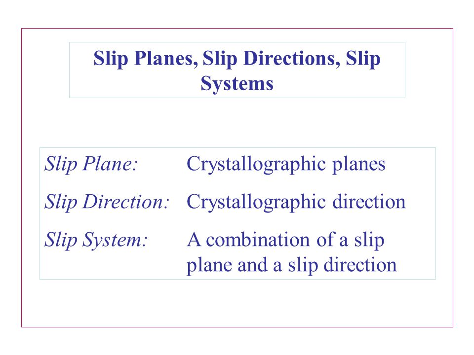 Slip Planes, Slip Directions, Slip Systems