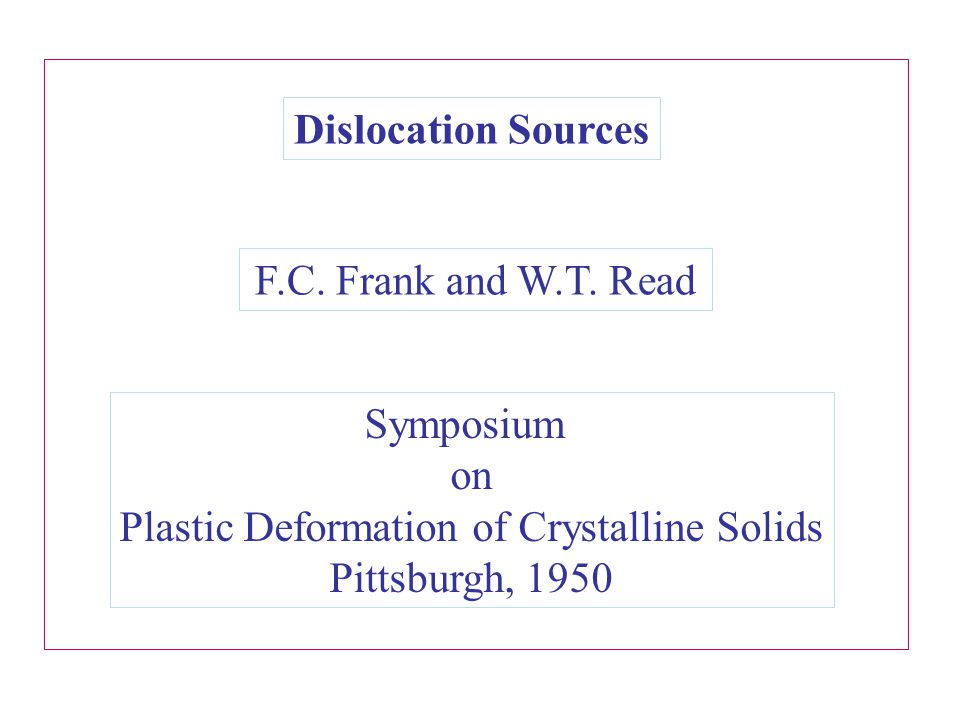 Dislocation Sources F.C. Frank and W.T. Read.