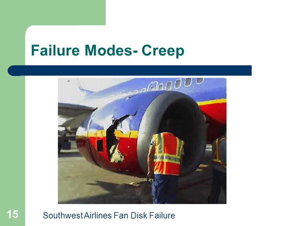 Failure Modes- Creep Southwest Airlines Fan Disk Failure