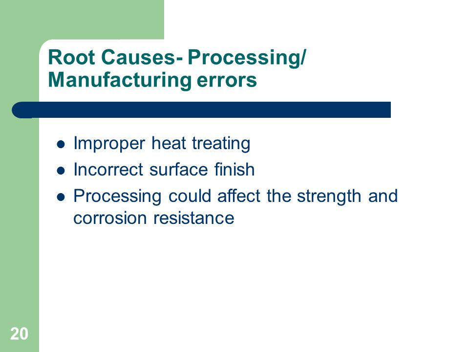 Root Causes- Processing/ Manufacturing errors