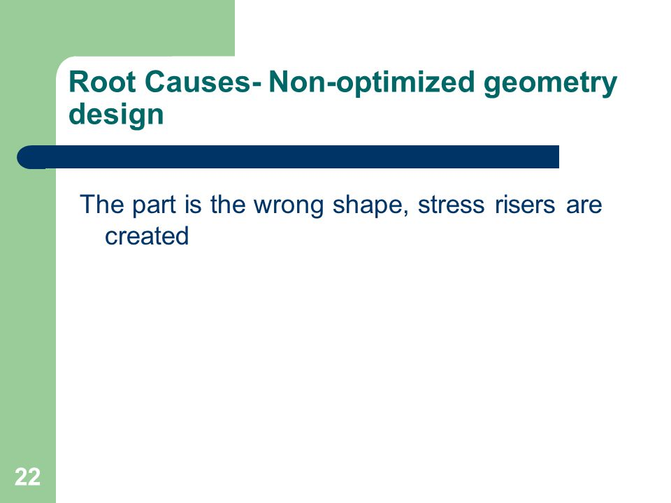 Root Causes- Non-optimized geometry design