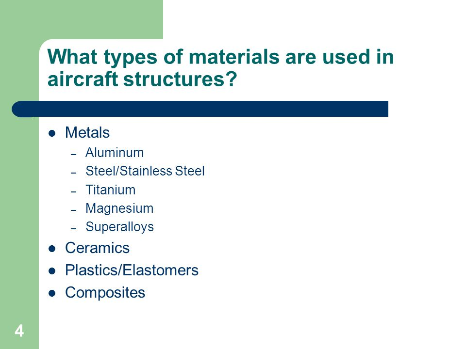 What types of materials are used in aircraft structures