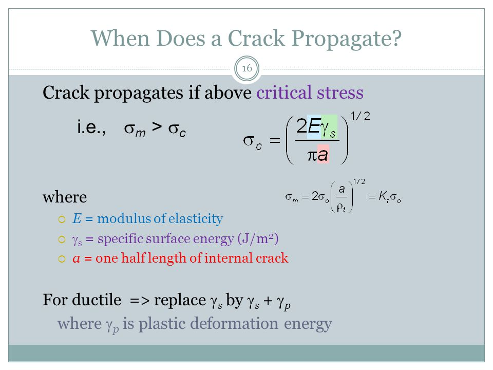 When Does a Crack Propagate
