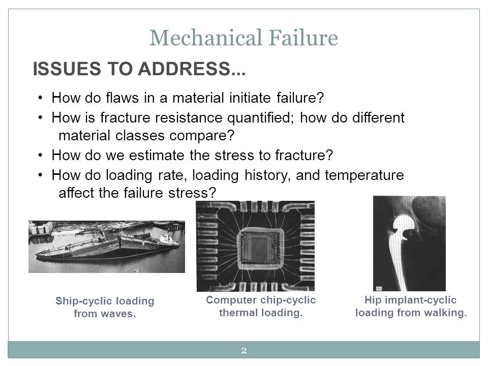 Mechanical Failure ISSUES TO ADDRESS...