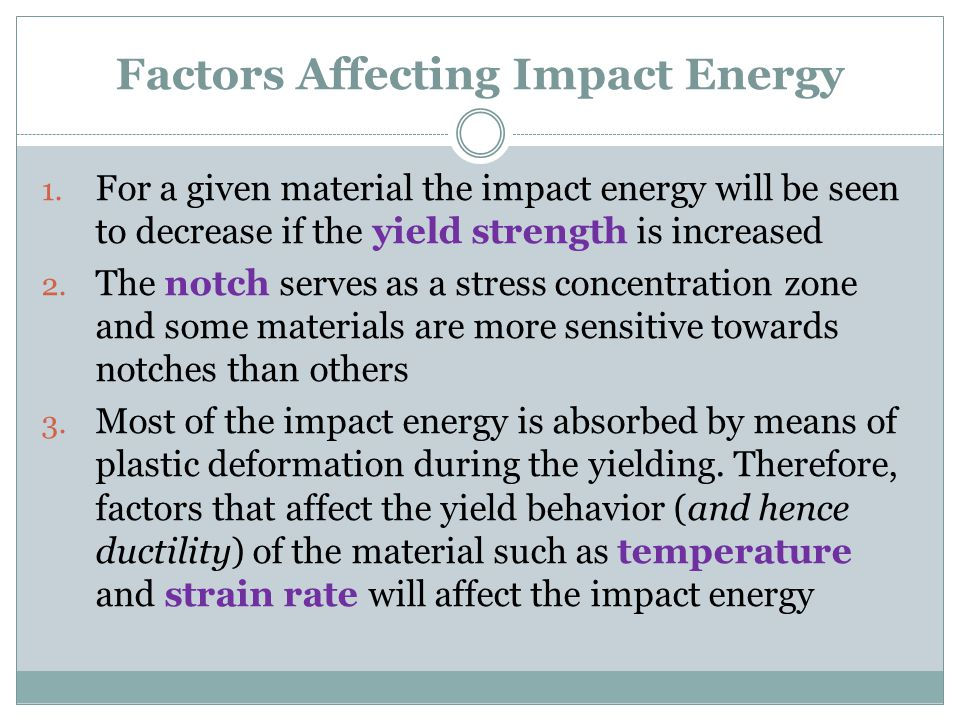 Factors Affecting Impact Energy