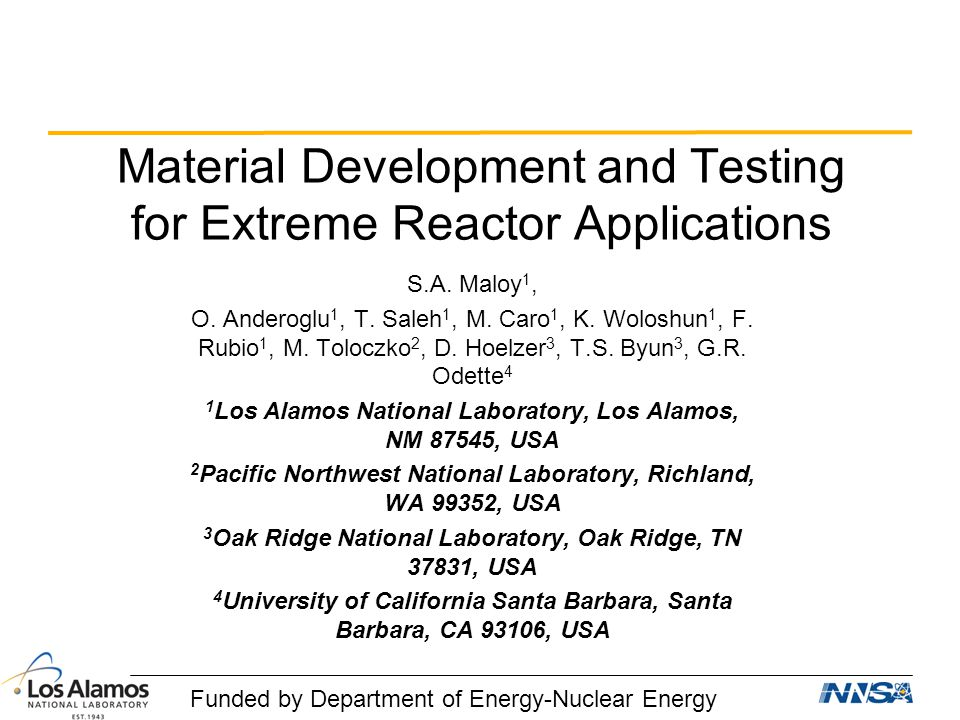 Material Development and Testing for Extreme Reactor Applications