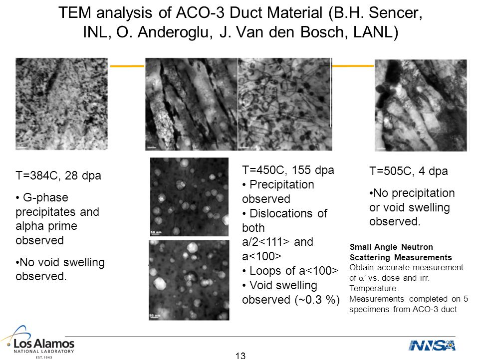 TEM analysis of ACO-3 Duct Material (B.H. Sencer, INL, O. Anderoglu, J. Van den Bosch, LANL)