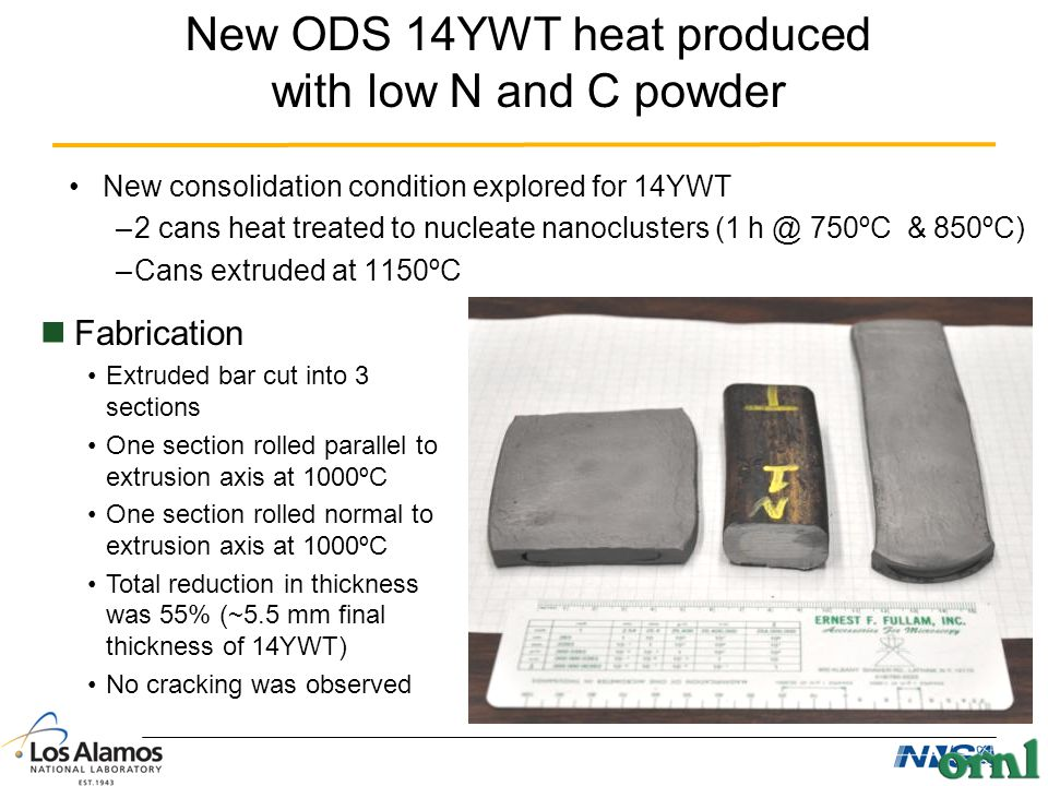 New ODS 14YWT heat produced with low N and C powder