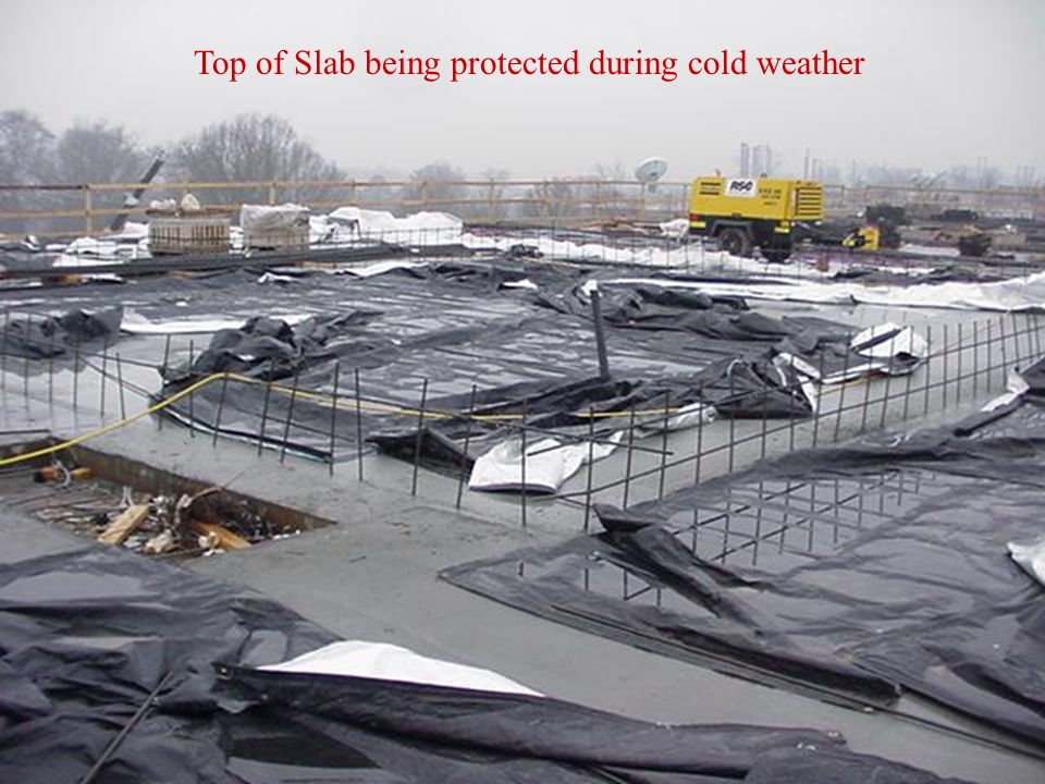 Top of Slab being protected during cold weather